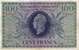 100 French Francs banknote - Tresor Central type Marianne