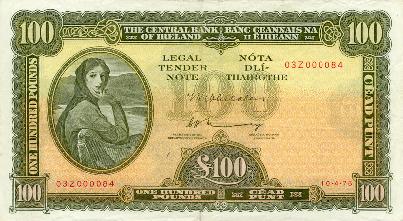 100 Irish Pounds banknote - Lady Hazel Lavery