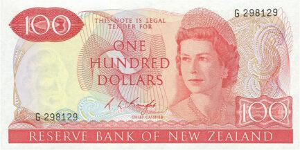 100 New Zealand Dollars banknote series 1967