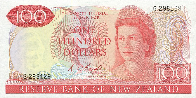 100 New Zealand Dollars banknote series 1967