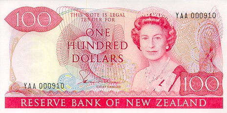 100 New Zealand Dollars banknote series 1981