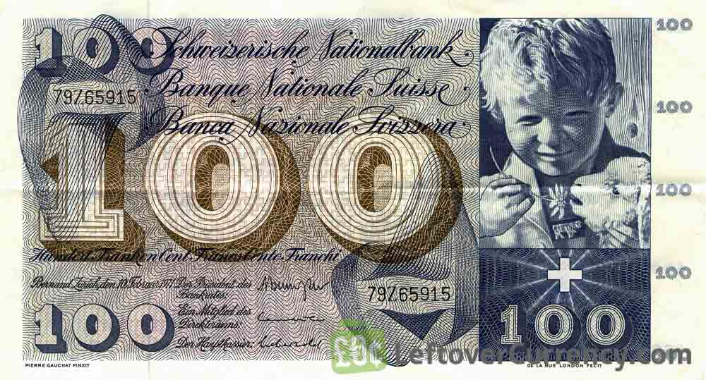 100 Swiss Francs banknote 5th series obverse accepted for exchange