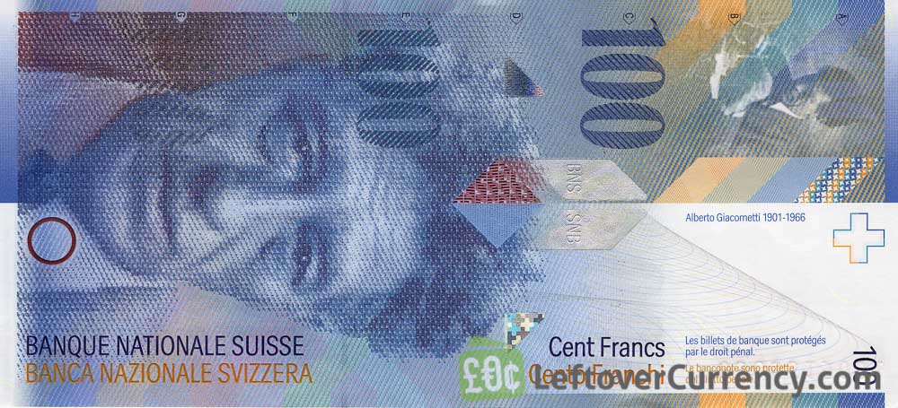 100 Swiss Francs banknote Alberto Giacometti 8th series obverse accepted for exchange
