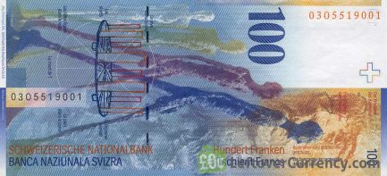 100 Swiss Francs banknote Alberto Giacometti 8th series reverse accepted for exchange