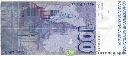100 Swiss Francs banknote Francesco Borromini 7th series reverse accepted for exchange