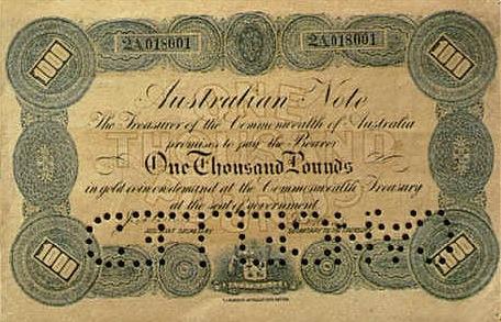 1000 Australian Pounds banknote