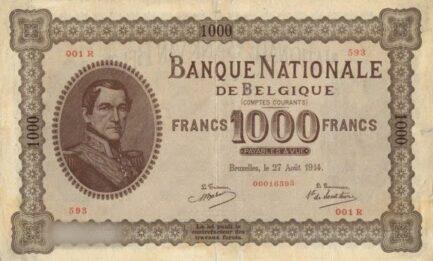 1000 Belgian Francs banknote - Comptes courants