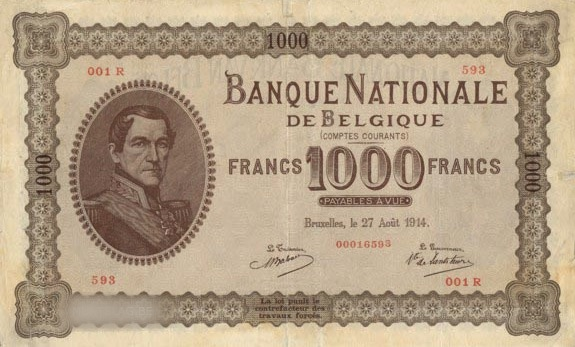 1000 Belgian Francs banknote - Comptes courants