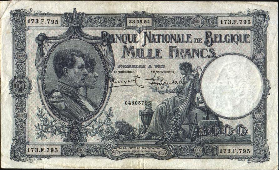 1000 Belgian Francs banknote - Série Nationale