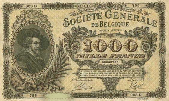 1000 Belgian Francs banknote - Societe Generale