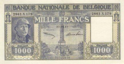 1000 Belgian Francs banknote - type Dynastie