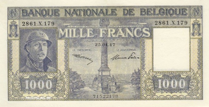 1000 Belgian Francs banknote - type Dynastie