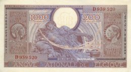 1000 Belgian Francs banknote - type Londres