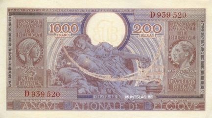 1000 Belgian Francs banknote - type Londres