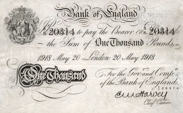 1000 British Pounds banknote - white note