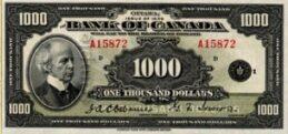 1000 Canadian Dollars banknote series 1935