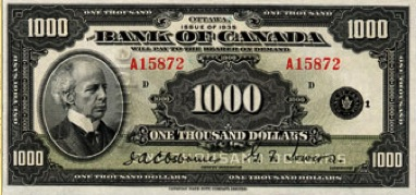 1000 Canadian Dollars banknote series 1935