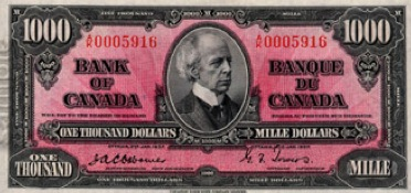 1000 Canadian Dollars banknote series 1937