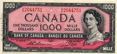 1000 Canadian Dollars banknote series 1954