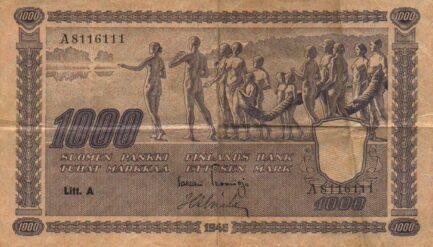 1000 Finnish Markkaa banknote - 1945