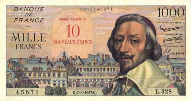 1000 French Francs (10 Nouveaux Francs) banknote - Richelieu