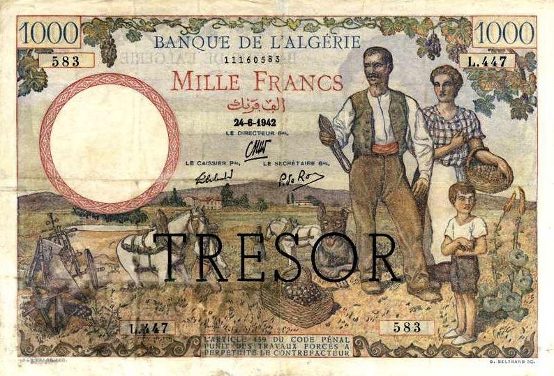 1000 French Francs banknote - Banque de l'Algerie