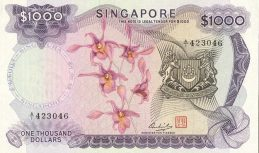 1000 Singapore Dollars banknote - Orchids series