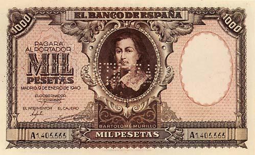 1000 Spanish Pesetas banknote - Bartolome Murillo