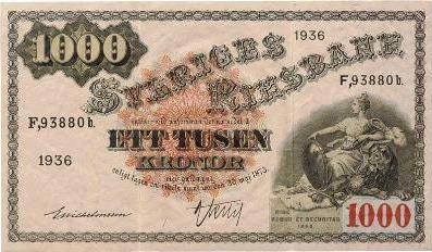 1000 Swedish Kronor banknote - Svea