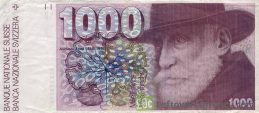 1000 Swiss Francs banknote Auguste Forel 7th series obverse accepted for exchange