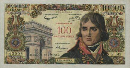 10000 French Francs (100 Nouveaux Francs) banknote - Napoléon