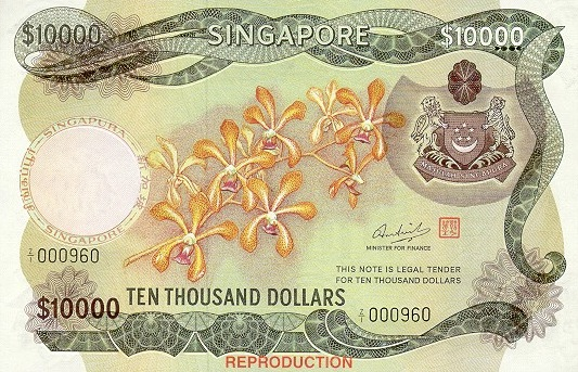 10000 Singapore Dollars banknote - Orchids series