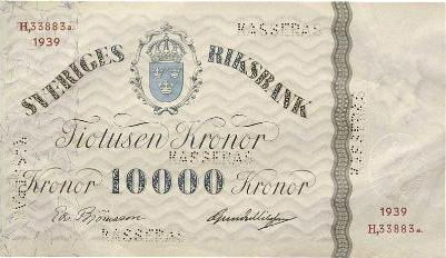 10000 Swedish Kronor banknote - 1939 issue