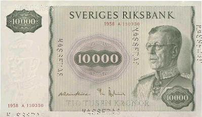 10000 Swedish Kronor banknote - King Gustaf VI