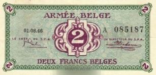 2 Belgian Francs banknote - Armée Belge