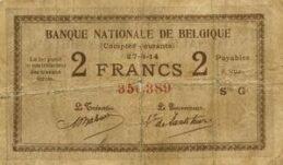 2 Belgian Francs banknote - Comptes courants