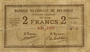2 Belgian Francs banknote - Comptes courants