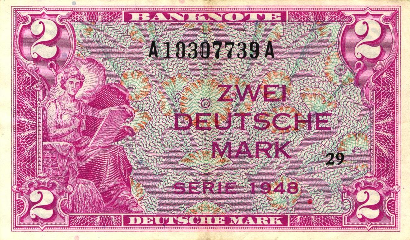 2 Deutsche Marks banknote - Bank Deutcher Länder 1948