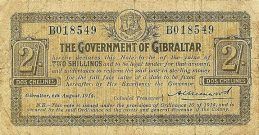 2 Shillings banknote Gibraltar - 1814 Emergency series B