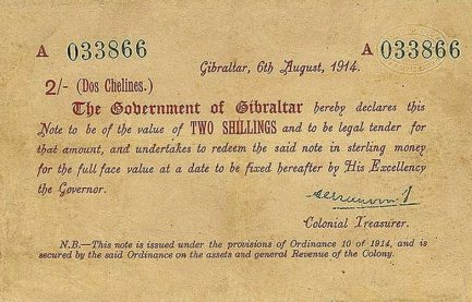 2 Shillings banknote Gibraltar - 1914 Emergency series A