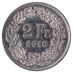 2 Swiss Francs coin obverse accepted for exchange