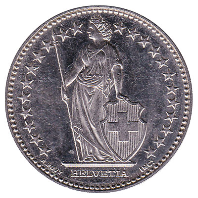 2 Swiss Francs coin reverse accepted for exchange