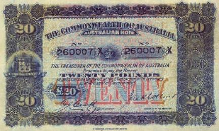 20 Australian Pounds banknote - lumberjacks