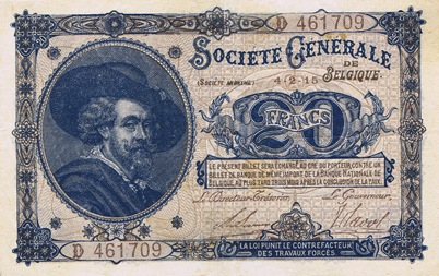 20 Belgian Francs banknote - Societe Generale