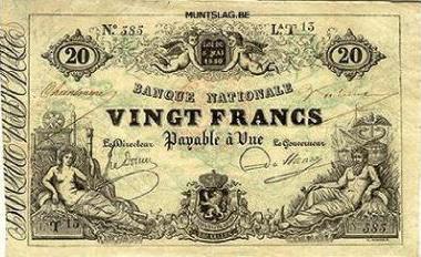 20 Belgian Francs banknote - type 1851 black