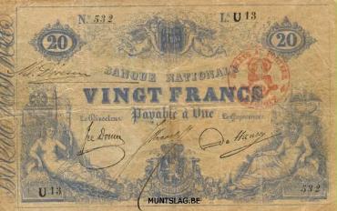 20 Belgian Francs banknote - type 1851 blue