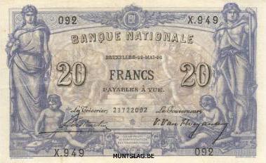 20 Belgian Francs banknote - type 1892
