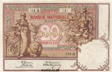 20 Belgian Francs banknote - type Brique
