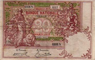 20 Belgian Francs banknote - type Vermillon