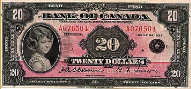 20 Canadian Dollars banknote - Princess Elizabeth series 1935